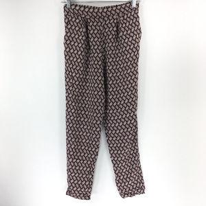 H&M 4 Brown Leaf Tapered Leg Casual Harem Pants